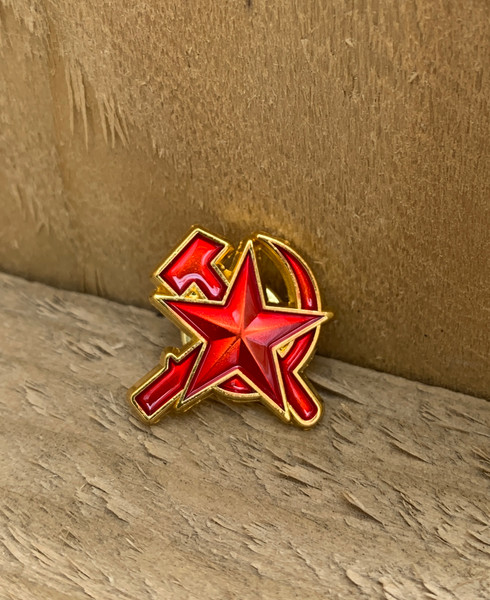 Hammer, Sickle and star CUT OUT enamel badge