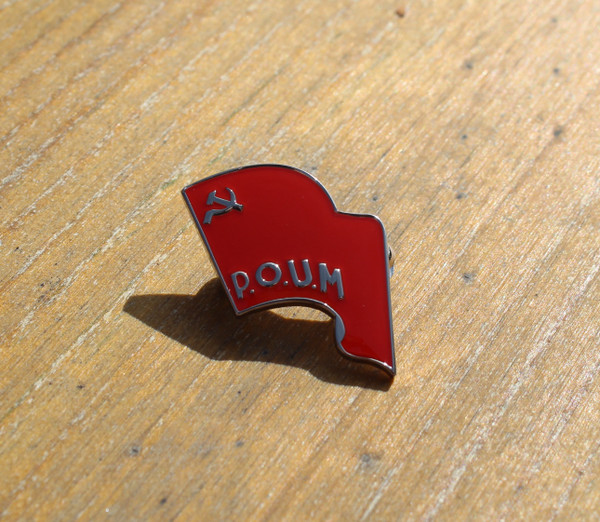 POUM FLAG ENAMEL BADGE WITH BROOCH PIN