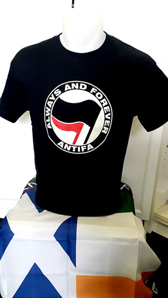 ANTIFA (black) Always and Forever Anti-Fascist T-shirt