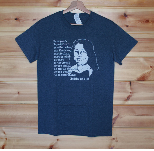 Bobby sands sport grey t-shirt with a one colour hand screen printed image