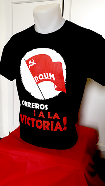 Here we reprint a famous POUM poster from the Spanish civl war, this a two colour screen printed Gildan heavy cotton preshrunk t-shirt.