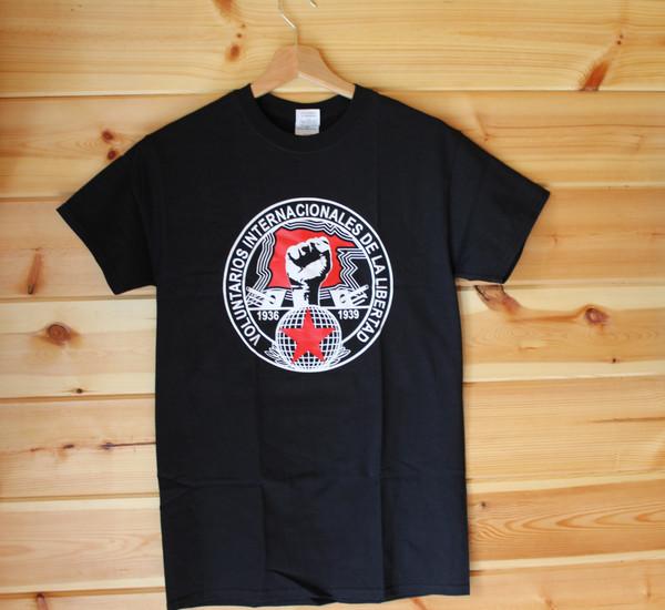 Voluntarios Internacionales de la Libertad two colour hand screen printed black t-shirt
