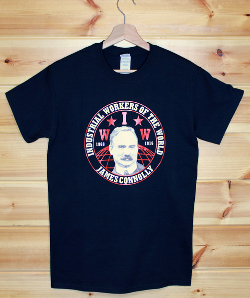 James Connolly Industrial Workers of the World (IWW) two colour hand screen printed black t-shirt