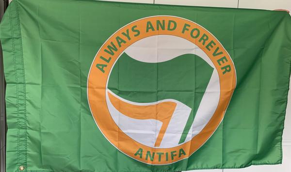 Green ALWAYS AND FOREVER ANTIFA flag size 5 feet x 3 feet