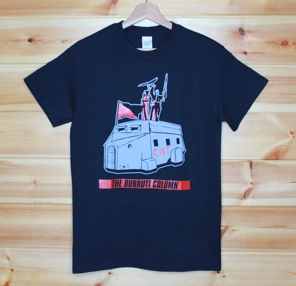 The Durruti Column CNT/FAI two colour hand screen printed black t-shirt