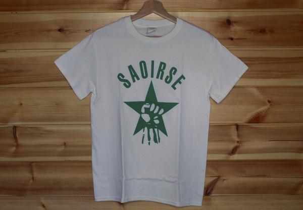 Saoirse one colour hand screen printed white t-shirt