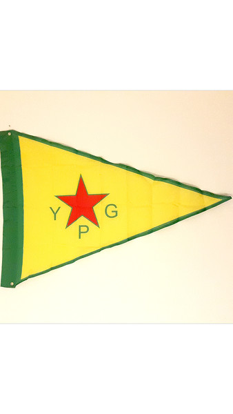 Flag of the YPG, from an Edinburgh-based Rojava solidarity group raising money for the rebuilding of Kobani. All profit goes to that work.  Polyester, 80cm x 120cm