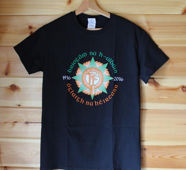 Briogaid na h-Albain OnahE Easter Rising t-shirt  Five colour hand screen printed black t shirt