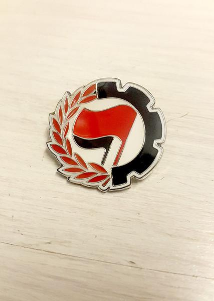 ANTIFA - Anti-Fascist Action - Red/Black - Cog Badge