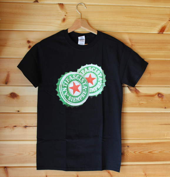 A four colour hand screen printed black t-shirt ANTIFASCISTA SIEMPRE and a small red star at its centre