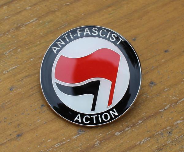 ANTI FASCIST ACTION Red/Black enamel badge