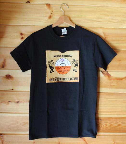 Trojan SHARP Love Music Hate Fascism four colour hand screen printed black  t-shirt
