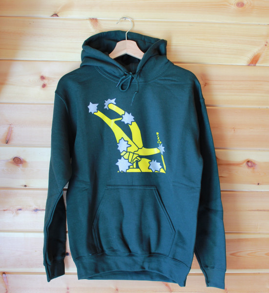 Starry Plough (original) two colour hand screen printed bottle green Hoody