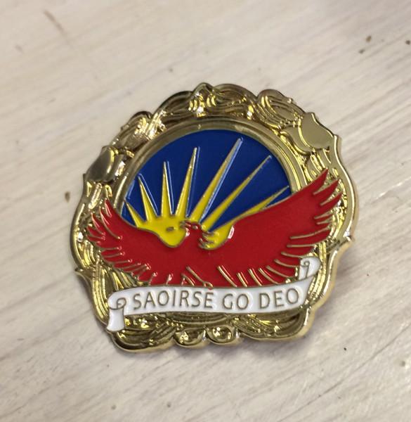 Saoirse Go Deo enamel badge 27 mm x 30 mm