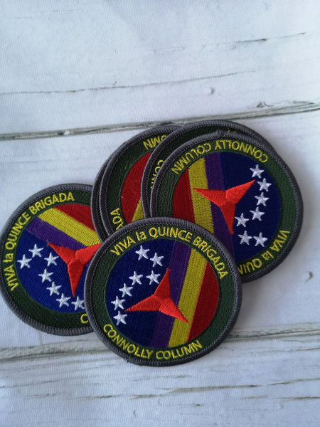 Connolly Column Viva la Quince Brigada embroidered iron on patch