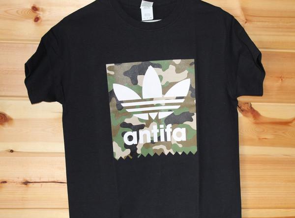 ANTIFA camo black t-shirthand screen printed