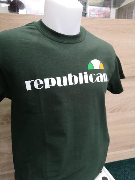 Irish Republican ellesse style hand screen printed  bottle green t-shirt
