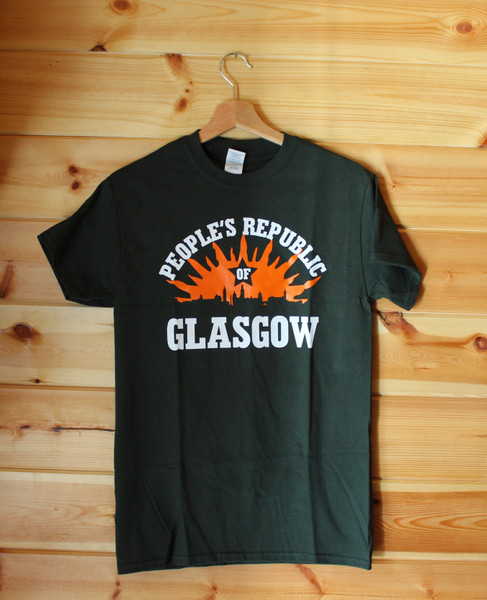 PEOPLE'S REPUBLIC OF GLASGOW BOTTLE GREEN T-SHIRT with a two colour hand screen printed image.