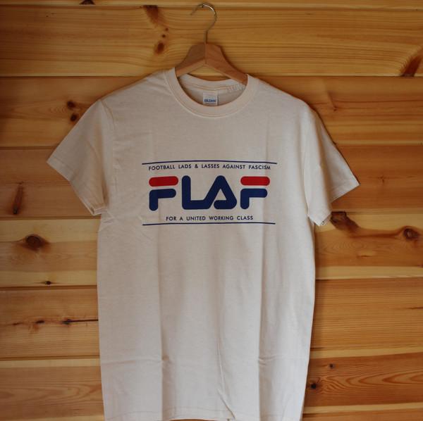 FLAF fila style antifascist two colour hand screen printed cream t-shirt
