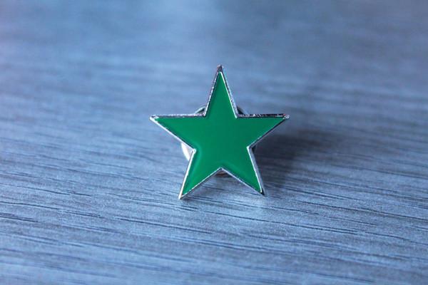 Green ecology star enamel badge
