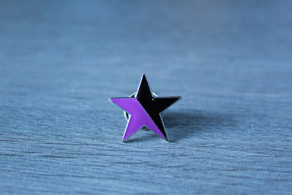 Black Purple star enamel badge