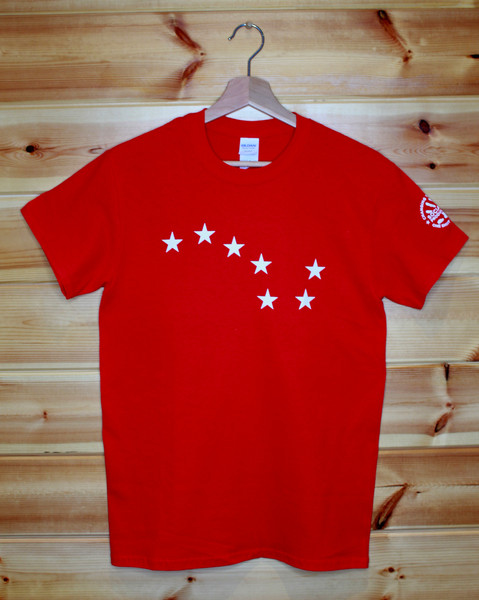 Red Starry Plough one colour front and back hand screen printed t-shirt.