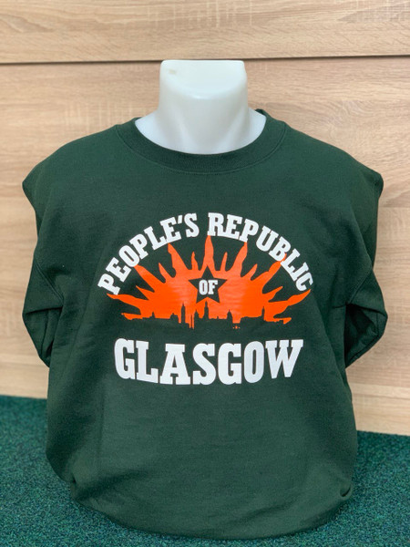 PEOPLE'S REPUBLIC OF GLASGOW bottle green sweatshirt