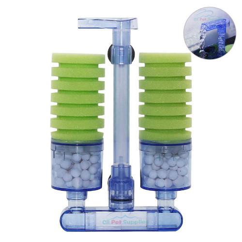 Aquaneat Sponge Filter Quiet Aquarium Filter with Ceramic Media Balls Air Pump Driven for Betta Fry Shrimp Tank 20 Gallon/ 75 Gallon