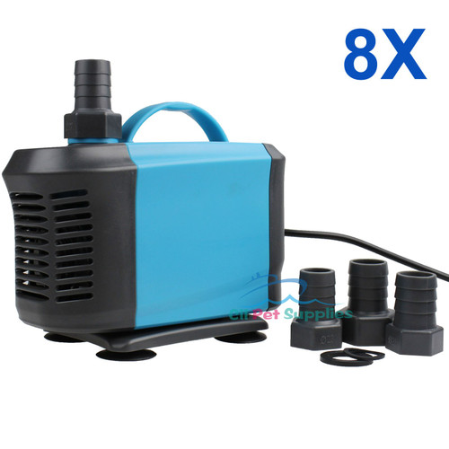 8 PCS 1200 GPH Aquarium Tank Fountain Hydroponic Submersible Water Pond Pump