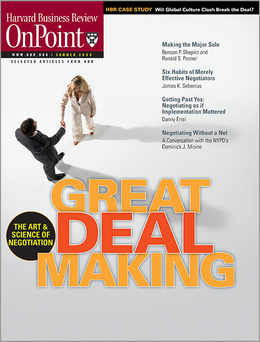 Great Deal Making (HBR OnPoint Executive Edition) ^ 10107