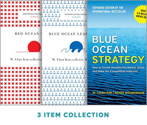"""Blue Ocean Strategy with Harvard Business Review Classic Articles """"Blue Ocean Leadership"""" and """"Red Ocean Traps"""" (3 Books) ^ 10177"""