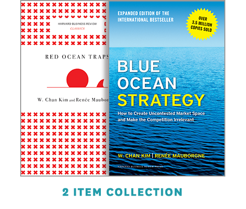 """Blue Ocean Strategy with Harvard Business Review Classic Article """"Red Ocean Traps"""" (2 Books) ^ 10179"""
