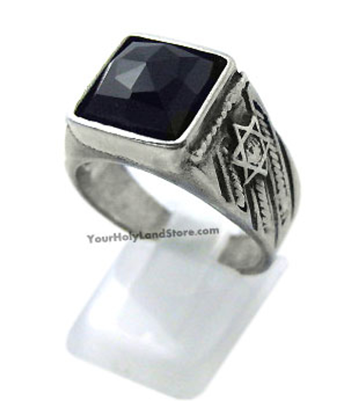 Sterling Silver Star of David Black Onyx Jewish Statement Ring