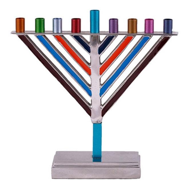 Multicolor Chabad Hanukkah Menorah Your Holy Land Store