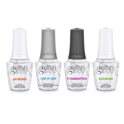 Gelish Fantastic Four - Foundation, Top It Off, phBond and Nourish Cuticle Oil.