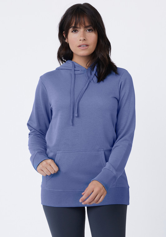 Double lined hood, pouch pocket, flat draw-cord, side-seamed, satin neck taping, superior printability. Finely-knit 3 end French terry. 8.0 oz., 2x1 ribbed cuffs and waistband,100% cotton face,65% cotton/35%polyester, except Marled Ash (55% cotton/45%polyester).