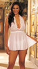 Plus Size White Stretch Lace and Mesh Babydoll