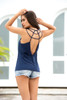 Navy Strappy Tank Top