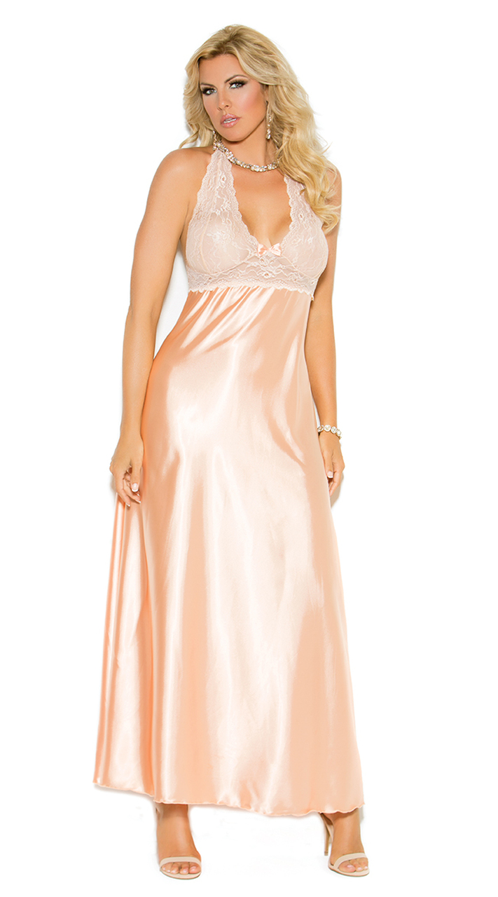 Plus Size Peach Charmeuse Night Gown | Elegant Moments 1969X
