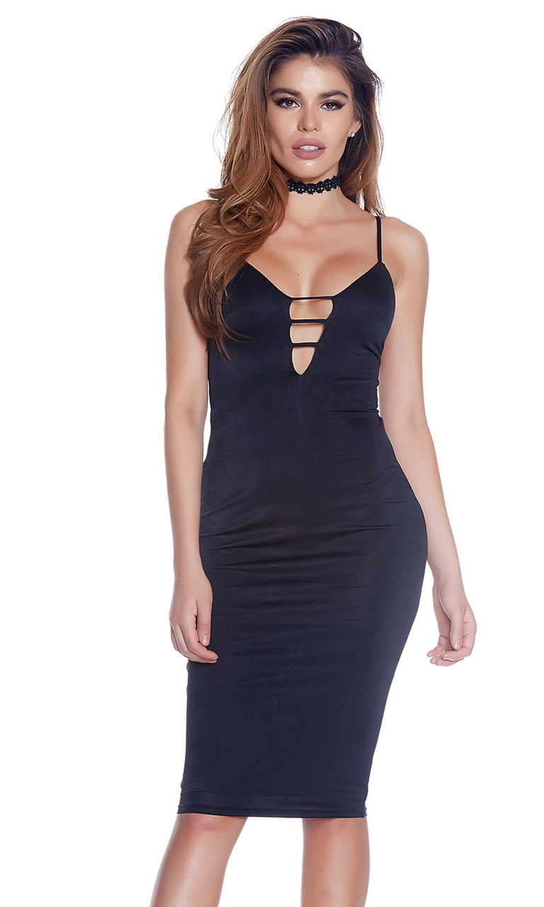 c34de7165a0a Black Sleeveless Midi Dress with Plunging Neckline - Forplay 886812