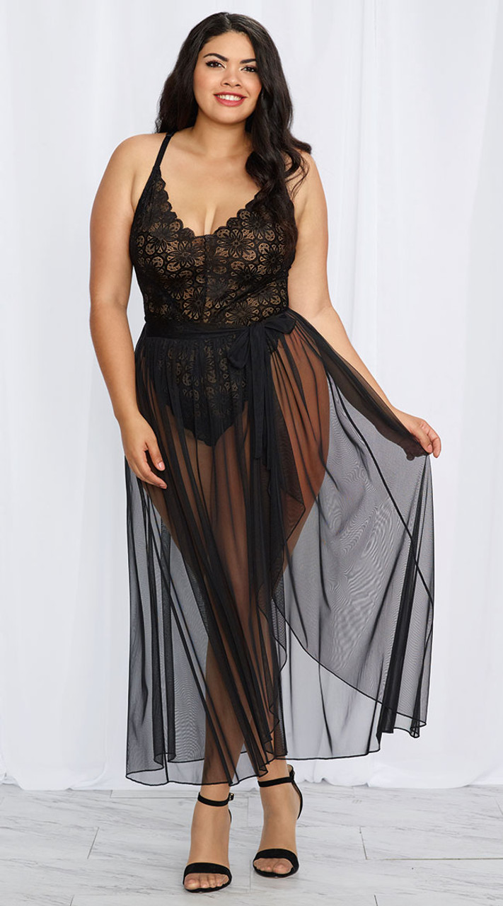 Plus Size Mosaic Stretch Black Lace Teddy and Sheer Mesh Maxi Skirt