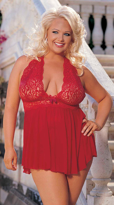 Plus Size Red Stretch Lace and Mesh Babydoll