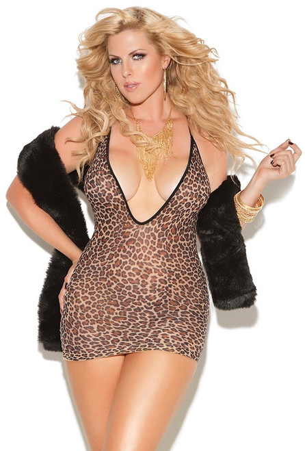 Plus Size Deep V Leopard Mini Dress