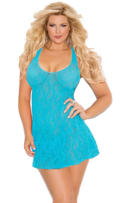 Plus Size Turquoise Lace Halter Mini Dress