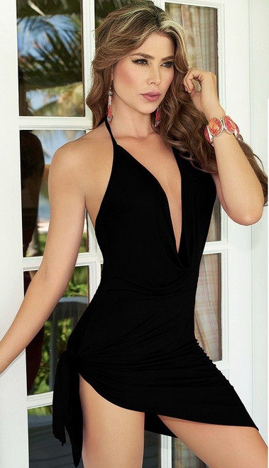 Black Side Tie Halter Dress