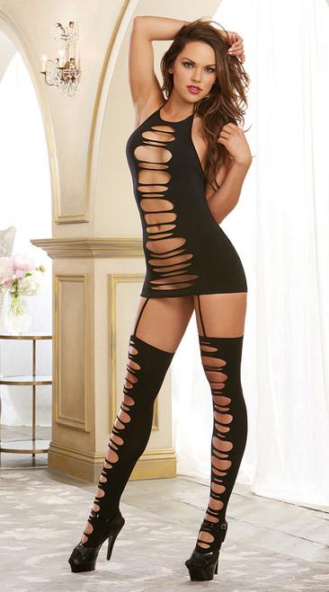 Black Garter Dress with Slash Detail
