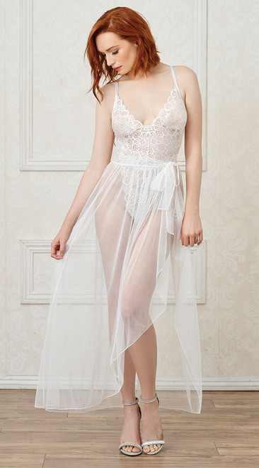 Mosaic Stretch White Lace Teddy and Sheer Mesh Maxi Skirt
