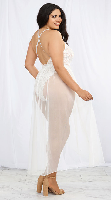 Plus Size Mosaic Stretch White Lace Teddy and Sheer Mesh Maxi Skirt