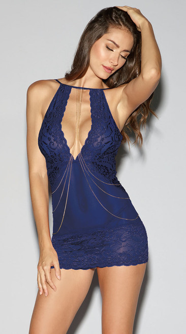 Midnight Blue Chemise with Draped Chains
