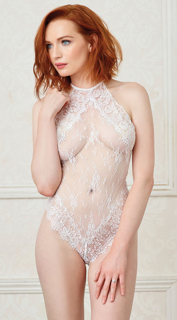 White Eyelash Lace Halter Teddy